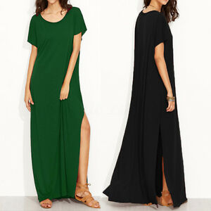 Zanzea Womens T Shirt Dress Short Sleeve Loose Solid Long Maxi Dress