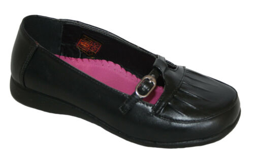 Girls School Shoe Pleat Mary buckle ballerina Black sizes 12.5,13 /& 2