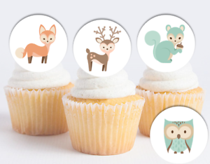 EDIBLE Woodland Animals Wafer Cupcake Topper Baby Shower ...