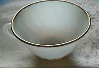 Anchor Hocking Fire King Suburbia White Gold Rim Trim Swirl Milk Glass Cup