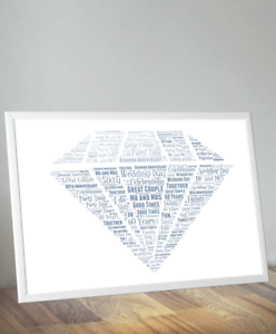 Image is loading Personalised-Diamond-Wedding-60th-Anniversary-Word-Art-Gift -