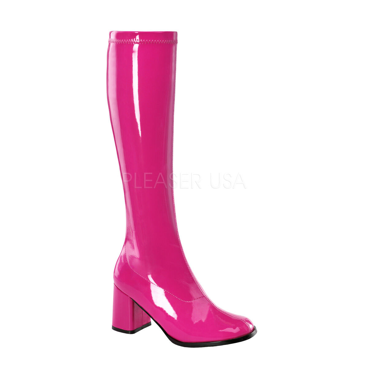 Sexy 3  High Heel Gogo Dancer Hot Pink Knee Boots Halloween Costume GOGO300 HP