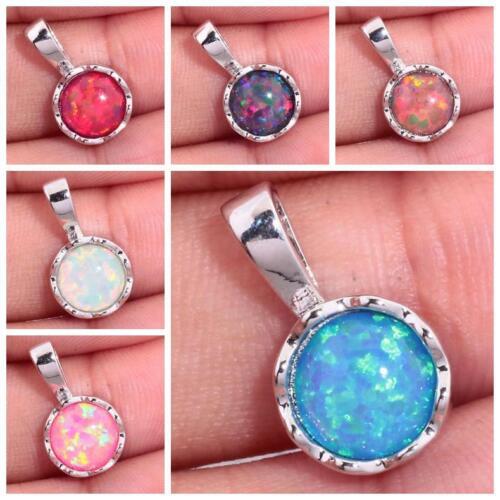 Purple Orange Blue White Pink Red Opal Women Jewelry Gems Silver Pendant LP171-6
