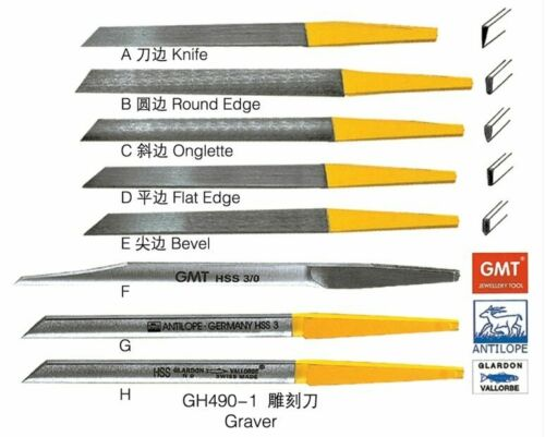 8 Different Gravers High Speed Steel For Jewelry /& Engravers Jewelry Tools Set