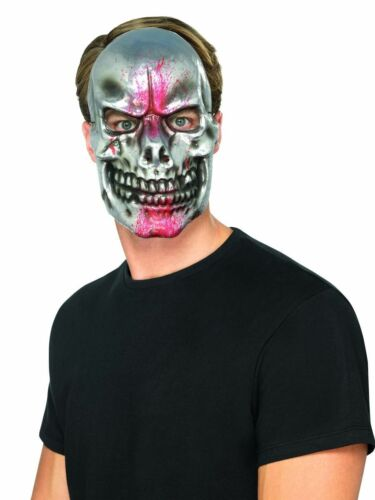 Men/'s Silver Blood Splatter Skull Skeleton Mask Halloween Scary Fancy Dress Stag