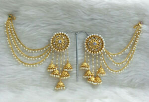 Image Is Loading Babosasakhi Indian Bollywood Designer Gold Plated Jhumka Earrings