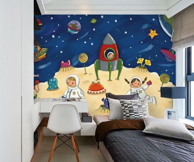 3D Espace Heureux 4 Photo Papier Peint en Autocollant Murale Plafond Chambre Art