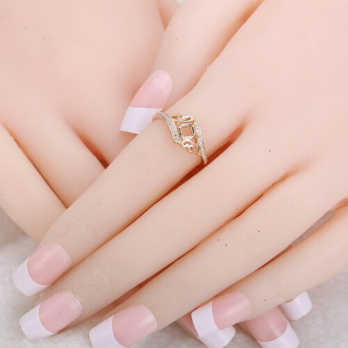 Details about  /6mm Round or 5x5mm Princess//Cushion Diamonds Ring Jewelry Solid 10K Yellow Gold