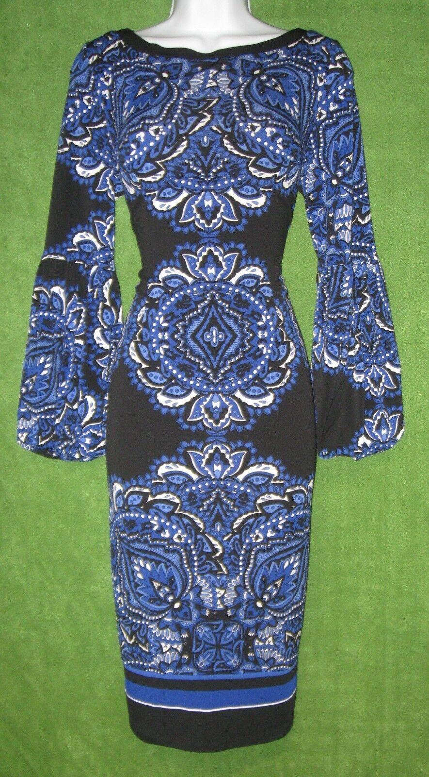 INC International Concepts schwarz Blau Print Sheath Bell Social Dress S 4 6