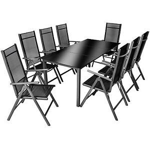 alu sitzgruppe 8 1 gartenm bel gartengarnitur tisch stuhl essgruppe b ware ebay. Black Bedroom Furniture Sets. Home Design Ideas
