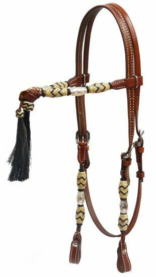 SHOWMAN WESTERN FUTURITY  KNOT BRIDLE HEADSTALL W  REINS & HORSE HAIR TASSELS  a lot of concessions