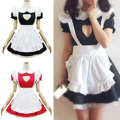 Women Girls Open Chest JK Maid Uniform Cosplay Costume Kawaii Fancy Party Dress