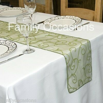 FLOCKED ORGANZA TABLE RUNNER  280 cm long x 23 cm wide APPROX