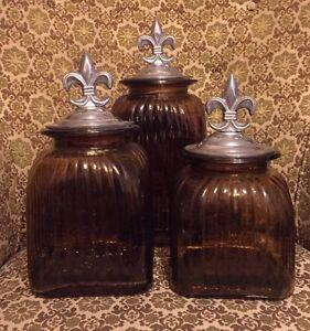 Fleur-de-lis Glass Canister Set of 3