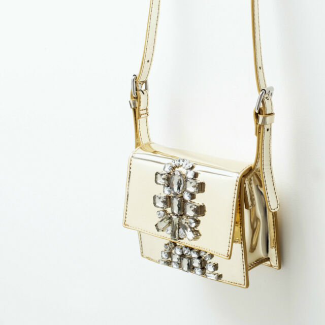 ZARA GOLD JEWELLED CROSS BODY BAG HANDBAG SIZE SMALL