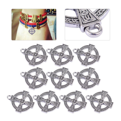 10pcs Antique Round Cross Pendant Charms For Craft Necklace Jewelry Silver Alloy