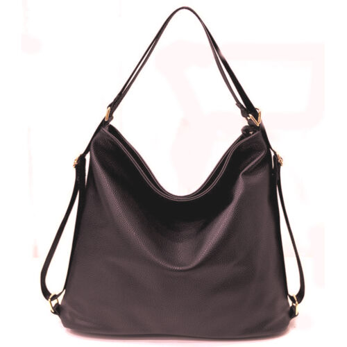 Womens Designer Large Faux Leather Slouch StyleTote Backpack Rucksack VincenzaUK