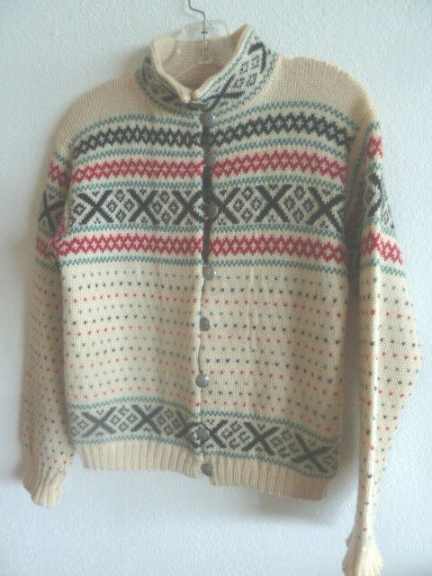 Handknit Scandinavian Sweater Norway Sweden Denmark Tan w  Blk Grn Red  S-M