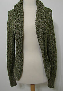 Marciano-Avocado-Olive-Gold-Thread-Rayon-Blend-Open-Front-LS-Sweater-L