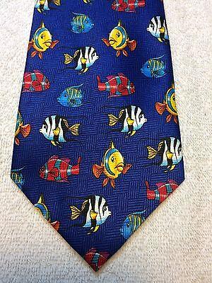 Addiction Cravatta Uomo 4 X 58 Blu Con Colorato Pesce Marino, Ampia Fornitura E Consegna Rapida
