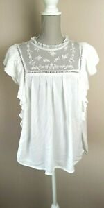 New-Look-White-Lace-Frill-Ruffle-Embroidered-Sleeveless-Blouse-Top-BNWT-Size-10