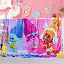 Super Soft Dreamwork Trolls Plush Fleece Throw Blanket Home Decor Kids Gift