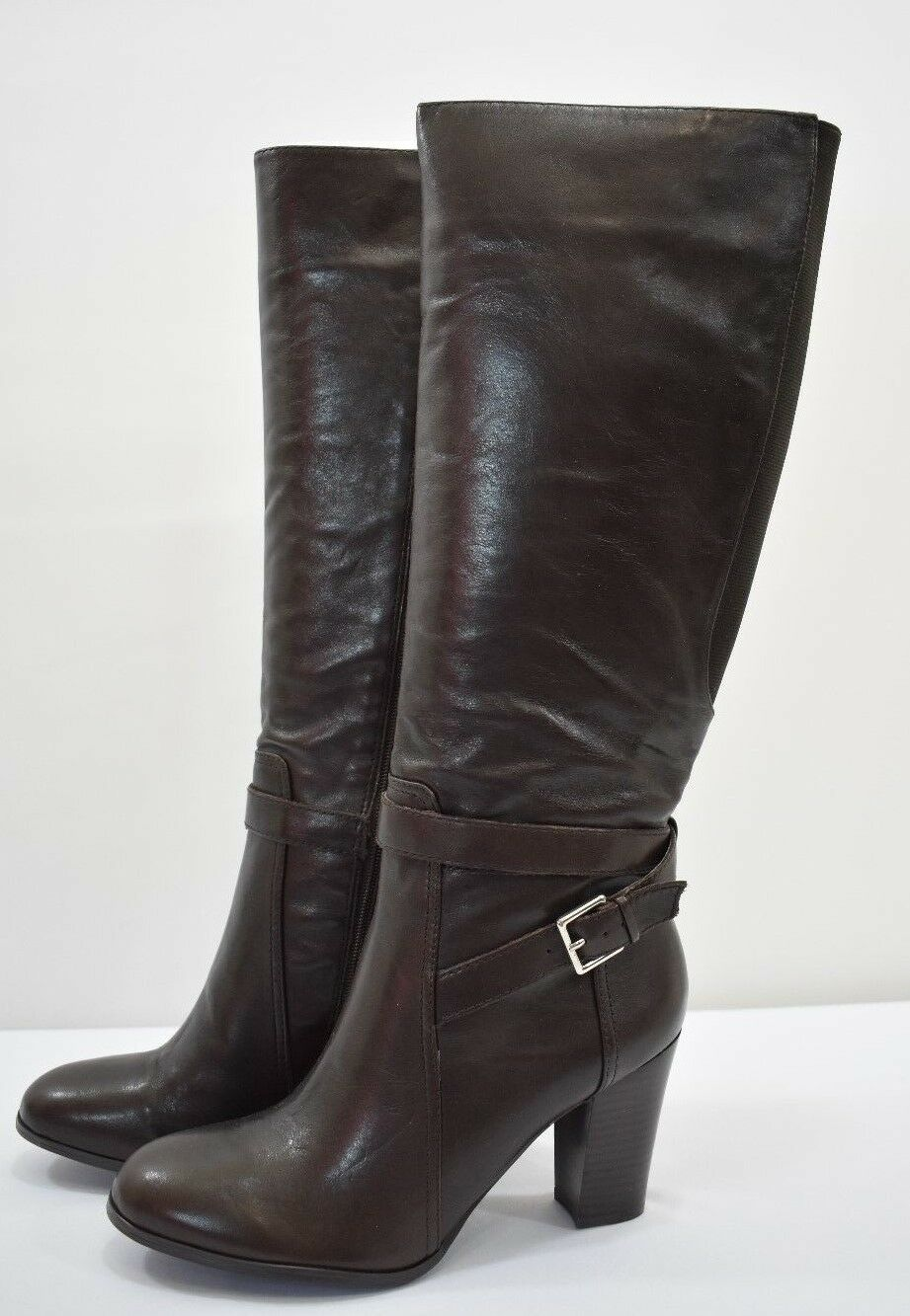 MARC FISHER MFKESSLER tall wedge daRk brownLEATHER BOOTS SZ 9.5M NEW IN BOX
