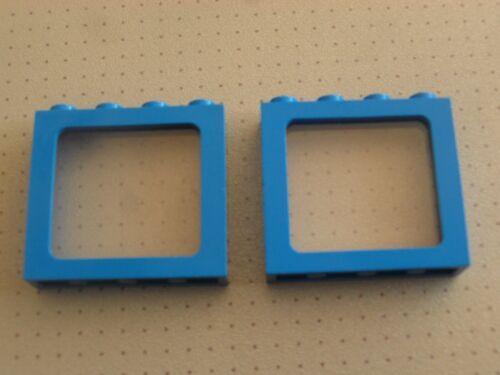 28 Lego 2 x Blue Train Windows 1 x 4 x 3 Studs with Clear Glass