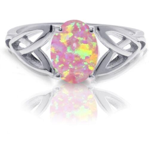 Australian Pink Fire Opal Infinity Celtic Oval Birthstone Sterling Silver Ring