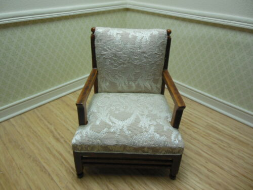 3215lmb-nwn Walnut Upholstered Chair Dollhouse Miniatures Furniture 1//12