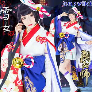 Game Onmyoji Yuki Onna Cosplay Costume Halloween All Size New