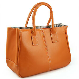 Fashion-Damen-Klasse-PU-Leder-Handtasche-Orange-R6P4-M4N3