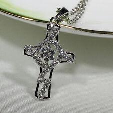 18K White Gold Filled Women Fashion Jewelry Necklace Unique Cross Pendant P3226