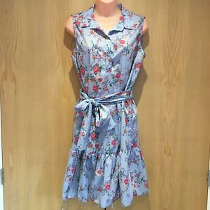 Ladies-Sleeveless-Shirt-Dress-Size-14-Knee-Length-Light-Blue-Floral-Tie-Waist