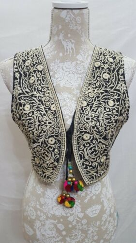 Women,s Embroidered cropped Waistcoat Jacket Alternative Festival Hippy Boho