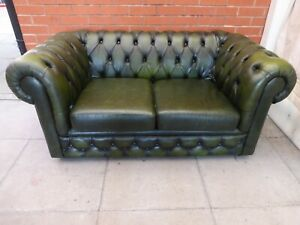 Details About A Green Leather Chesterfield Two Seater Sofa Settee