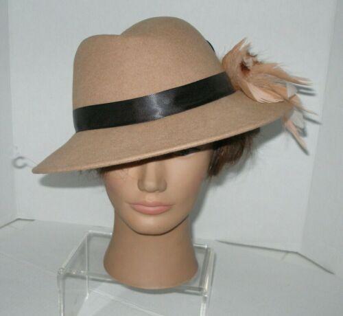 Women's Vintage Fedora Hat Tan Black Ribbon Band &