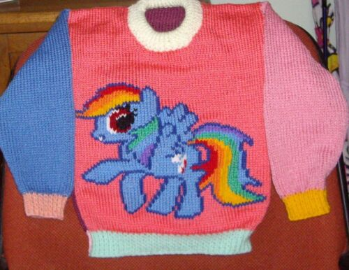 MY LITTLE PONY ..RAINBOW DASH ..NEW SIZE 4 HAND KNITTED