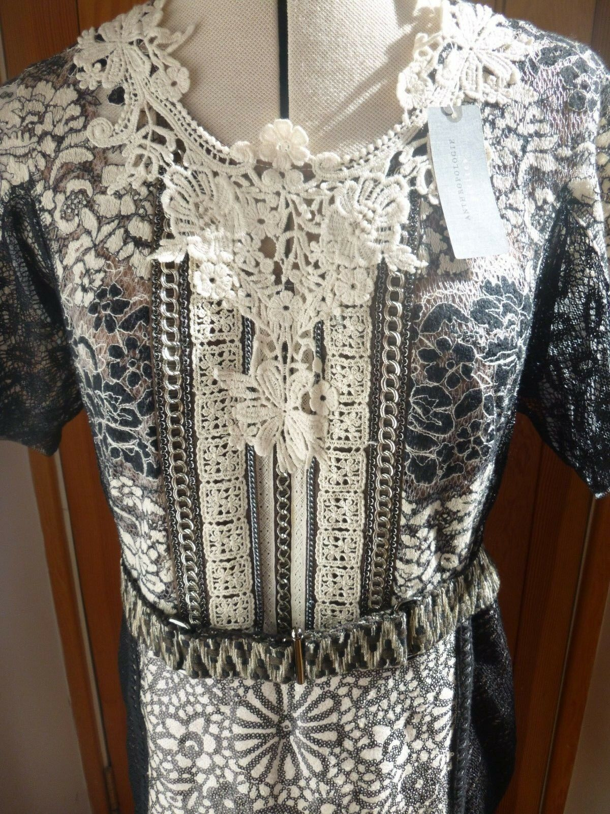 Anthropologie Embroidered lace Fitted Dress size 12 petite Beguile By Byron Lars