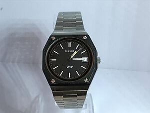 Vintage-Tissot-F1-Quartz-Men-039-s-Steel-Watch-on-Steel-Bracelet