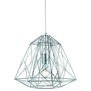 Image is loading Chrome-Geometric-Cage-Frame-Shade-Ceiling-Pendant-Light-  sc 1 st  eBay & Chrome Geometric Cage Frame Shade Ceiling Pendant Light Fitting Home ...