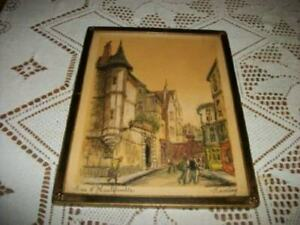ANTIQUE-FRENCH-PARIS-ETCHING-PENCIL-HAND-TINTED-RUE-d-039-HAUTEFEUILLE-1920-039-s-FRAME