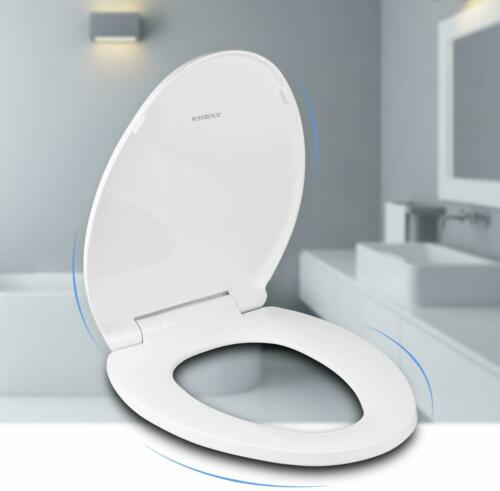 Slow Close Easy to Install White Oval Elongated Toilet Seat with Cover