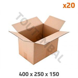 Emballage carton simple cannelure 400 x 250 x 150 mm (par 20)