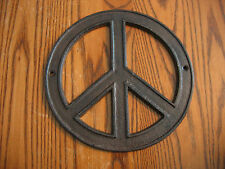 Cast Iron PEACE Sign! Ready to mount.  Peace, Love, and Woodstock!