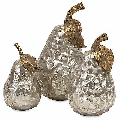 Pear Sculpture Set 3 Piece Textured Silvery Pears With Burnished Gold Leaves