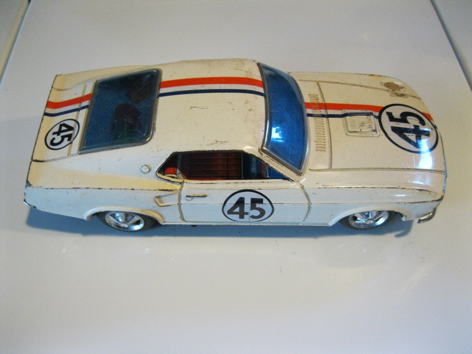 RARE 1969 Taiyo Rusher Mustang Mystery Bump N Go TIN TOY FOR PARTS OR REPAIR