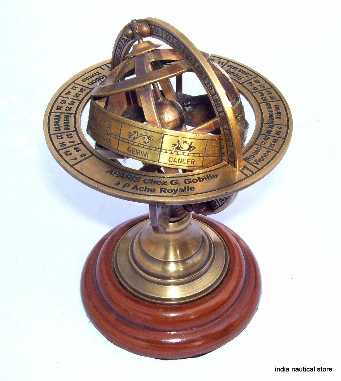 Antique brass armillary sphere world globe rosewood table