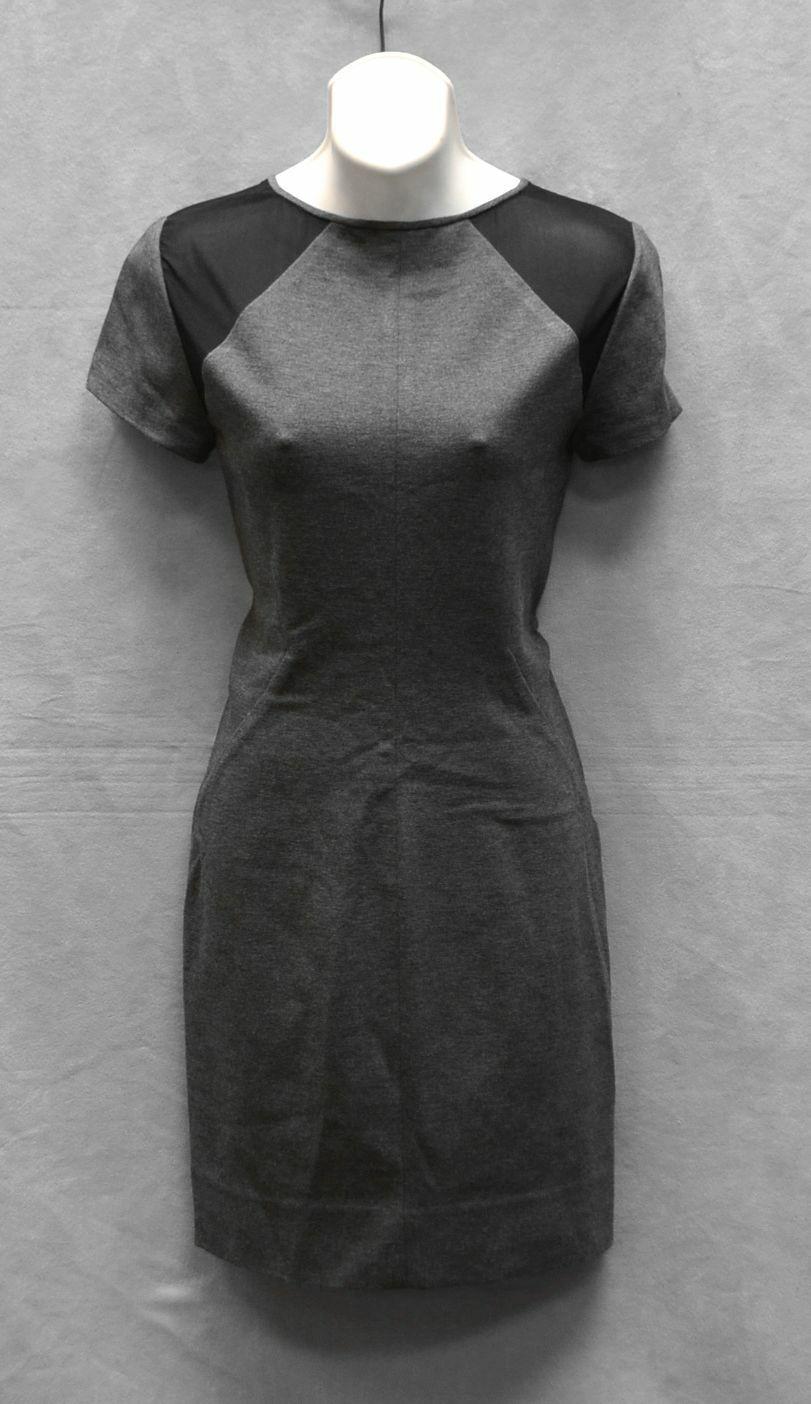 DIANE VON FURSTENBERG grau Slate & schwarz Paneled Jersey Havana Dress Größe 6