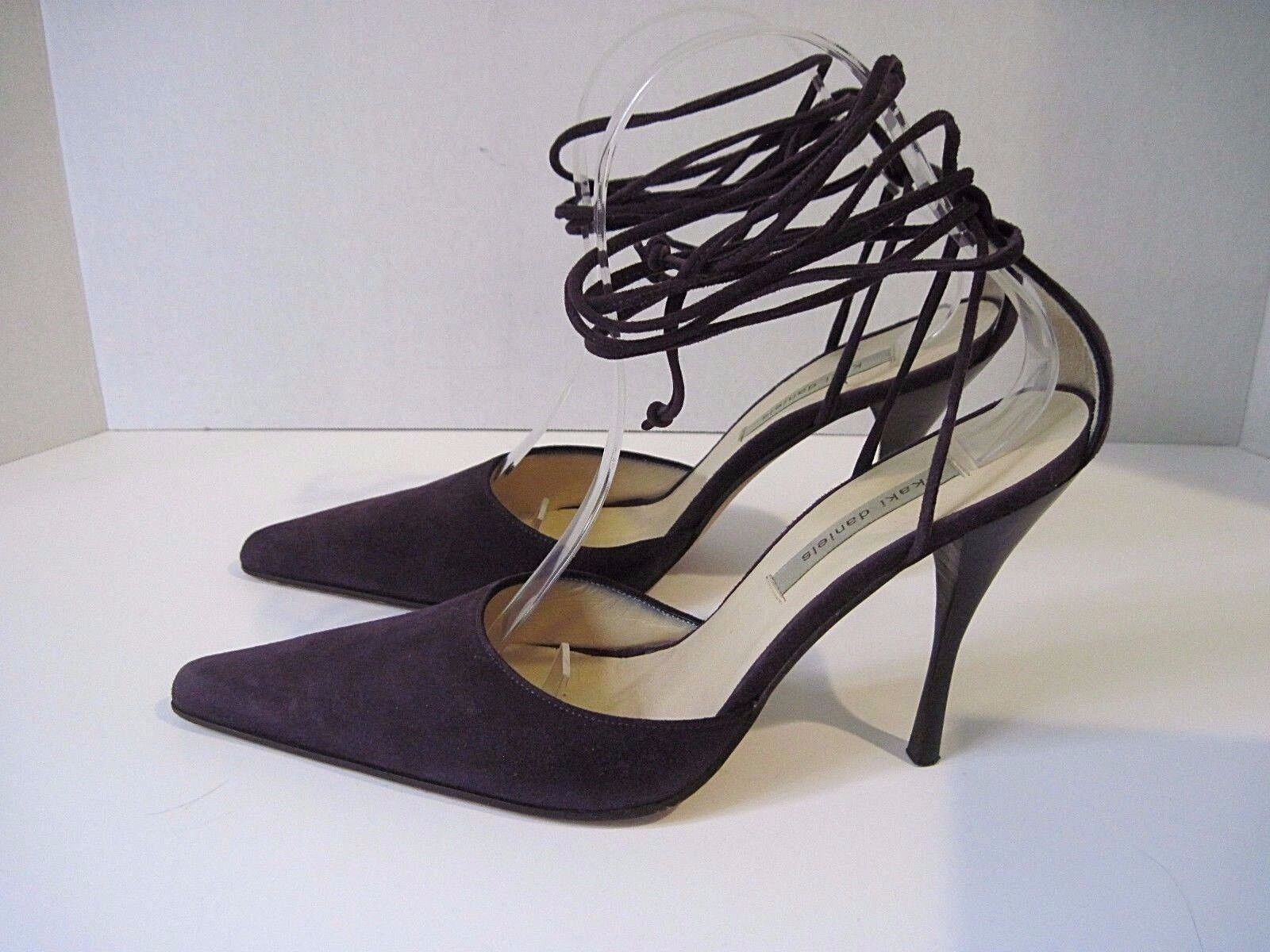 KAKI DANIELS' PURPLE SUEDE LEATHER STRAPPY ANKLE TIE STILETTO HEELS SIZE 37